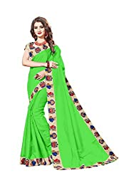 Bhuwal Fashion Womans CHANDERI silk KALAMKARI saree with Blouse (BLUE) (GREEN)