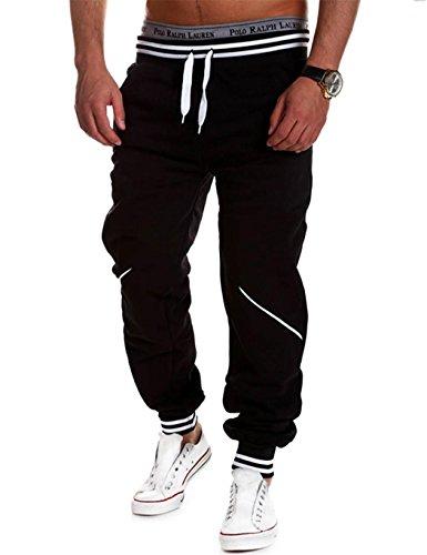 Teamyy Pantalones Chandal Hombre Casual Cintura Elástico Deporte Fitness  Negro 81c3cdb9dbab