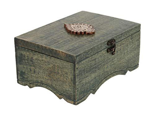 storeindya Handgefertigte Teebox aus Holz, Tea Box mit 6 Fächern Andenken und schönem Blattmotiv Kaffee-Aufbewahrungsbox Teebeutelhalter Brustorganisator Küchengeschirr Geschenke entworfen