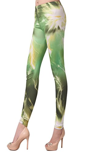 Bigood Pantalon Fantaisie Femme Collants Imprimé Leggings Mode Vert