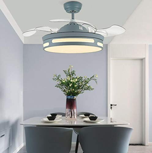 GHGJU Moderna retráctil Cuchillas Ventilador de Techo con luz y 36W Remoto, lámpara de Techo Regulable...