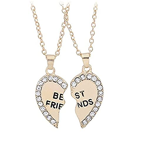 Lucky Will Charming Split Heart Rhinestone Friendship Necklace Engraved Pendant Necklace for Best Friends