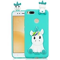 HopMore Funda Xiaomi Mi A1/5X Silicona Motivo 3D Divertidas TPU Gel Kawaii Ultrafina Slim Case Antigolpes Caso Protección Flexible Cover Design Gracioso - Unicornio Verde
