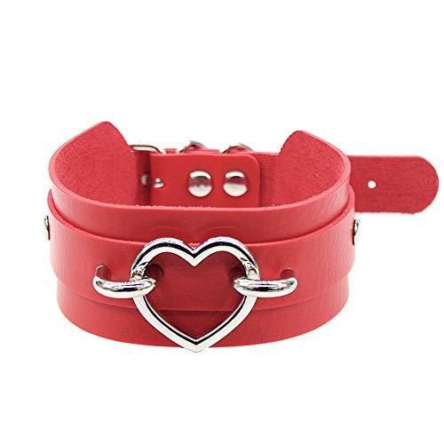Daimay Breit Lederhalsband Halskette Herz Form Damen Leder Choker Metall Ring Halsband Gotik Punk Rock Lederband Einstellbar Kragen - Rot mit Silber Herz