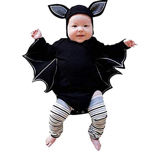 eidung Neugeborenen Baumwollumhang, schwarze Fledermaus Kostüm Mantel Strampler mit Hut Outfit ()