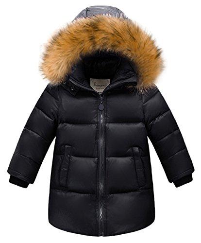Lukis Daunenjacke Kinder Jungen Winterjacke mit Fellkapuze Parka Outerwear Schwarz Größ 100