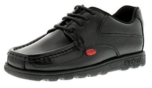 New Boys/Childrens Black Kickers Mocassin Style School Shoes. - Black - UK...