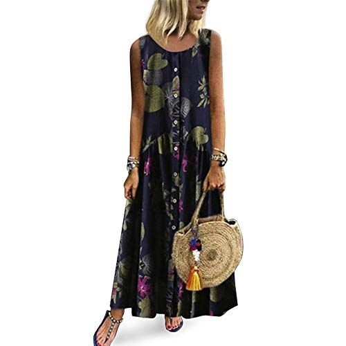 bfa8a6318 Floryday Maxi Abiti per Le Donne Senza Maniche Casual Estate Fiori Coverup  Long Print Plain Cami