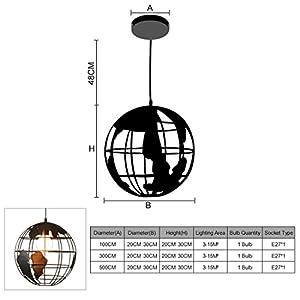 Lediary, Hängelampe in Weltform, Eisen, Industrie-Stil, Retro, Art-Deco, Vintagelook, einzelner Lampenschirm, E27-Halter, schwarze Farbe, 20cm, schwarz, PDLAMP-6-3B30, 220.00 voltsV
