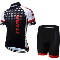 GWELL Hombre–Rueda equipación de traje de bicicleta camiseta manga corta + pantalones con asiento acolchado, color negro, tamaño small