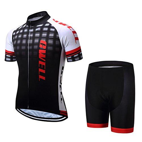 De Radfahren Tour France (GWELL Herren Radtrikot Set Fahrrad Trikot Kurzarm + Radhose mit Sitzpolster schwarz L)