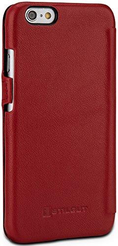 """StilGut Book Type Case con clip, custodia in vera pelle a libro per Apple iPhone 6s (4.7""""), rosso nappa Red Nappa"""