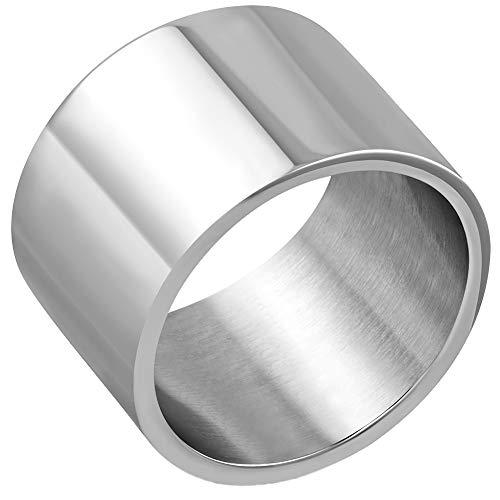 Breiter Bandring Edelstahl Silber Poliert Ring Damen Herren Fingerring 21
