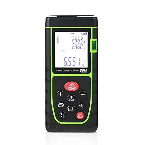 erät, 80 m, Laser-Maßband und -Ebene, digitales Laser-Entfernungsmesser, wasserdicht, HD Hintergrundbeleuchtung, LCD-Handheld, M/In/Ft grün ()