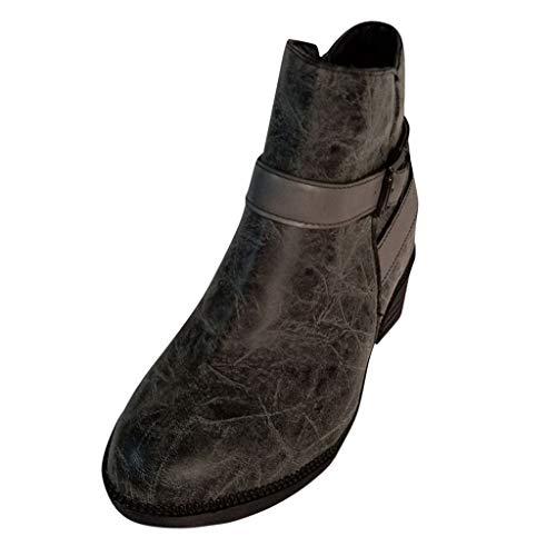 DressLksnf Chelsea Boots Damen Ankle Boots Slip-On Stiefeletten Flache Blockabsatz Stiefel Klassisch Komfortable rutschfest für Daily Casual Gray Brown 35-43 - Rutschfest Chukka