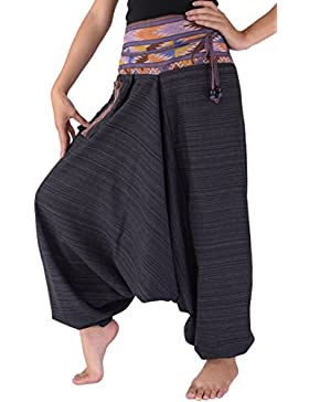 bjelly tradicional Loose Harem Pantalones Algodón Unisex...