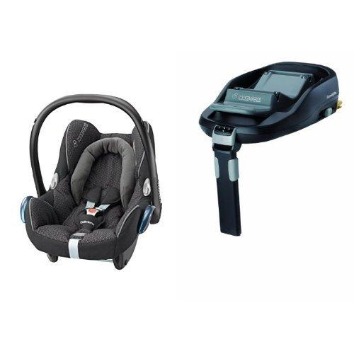 Maxi-Cosi CabrioFix Car Seat and FamilyFix (IsoFix) Base Bundle – Black Crystal
