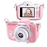 Kriogor Appareil Photo pour Enfants, Caméscope Selfie pour Appareil Photo Numérique pour Petites Filles, 2 Pouces LCD / 1080P HD / 16MP / 256M TF Carte (Rose)