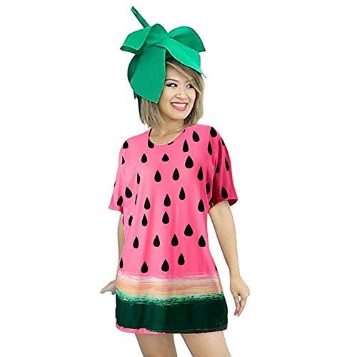 MRULIC Damen T-Shirt Kleider Festival Faschingsfest Party Obst Lässige Kurzarm Fruchtdruck Blusenkleider (Rosa,Freie ()