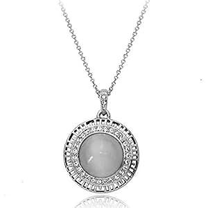 Galaxy Fashion Jewellery Pendentif sur chaîne avec opale argenté et zircons cubiques Swarovski Fini or blanc 18 carats