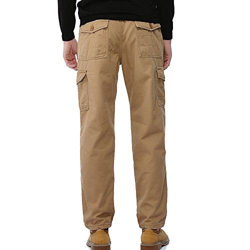 AYG Velour Hose Warm Herren Cargo Pants Freizeit Hose Baumwolle Sport 29-40 Khaki Nr.1005