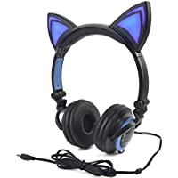LIMSON Kids Headphone Over Ear, Cat Ear Headphone Foldable Wired Earphone with LED light Flashing Glowing for Children Adults, 3.5 Jack for PC, Tablets, iPhone, Android Smart Phone (Black & blue)