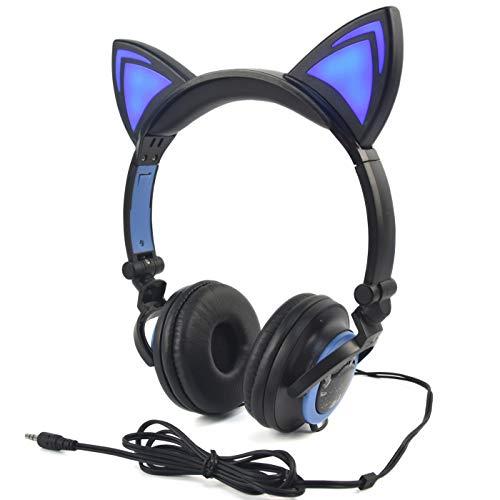 CARACTERISTICAS: 1, - Auriculares Cat Ears con LED Luces brillantes sobre las orejas Auriculares para juegos Auriculares para teléfono móvil Pad Computer PC. 2, - Estos divertidos y únicos auriculares de oreja de gato le darán el estilo que está busc...