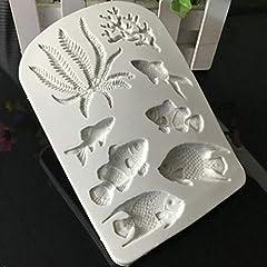 Idea Regalo - SULUO Silicone Grigio alghe Corallo Pesce Pagliaccio Pesci Tropicali Argilla Muffa Torta Stampo Torta Che Decora Gli Strumenti Cucina Strumento di Cottura Torta Stampo, Grigio