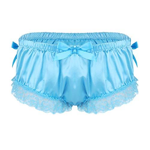iixpin Sissy Panties Höschen Satin Herren Dessous-String Slip Bikini Pink Erotik G-String Tanga Nacht Unterwäsche Club Shorts Blau XX-Large -