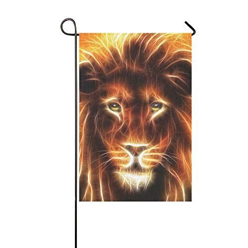 (JSXMNA Dekorative Doppelseitige Löwenkopf-Flagge mit Goldener Mähne, Garten-Flagge, Garten-Hof-Dekorationen, saisonale Willkommen-Outdoor-Flagge, 30,5 x 45,7 cm, Frühlingssommer-Geschenk)