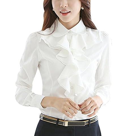 Women Chiffon Blouse Frill Ruffle Collar Long Sleeve OL Tops Shirts White Large