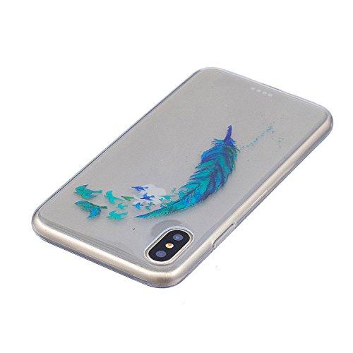 iPhone X Hülle, Voguecase Silikon Schutzhülle / Case / Cover / Hülle / TPU Gel Skin für Apple iphone X(Mädchen im bunten Kleid) + Gratis Universal Eingabestift Grün Gefieder 05