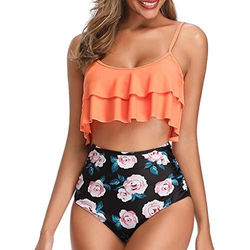 KEERADS Damen Bikini Sets Badeanzug Rüschen Hals Hängen Push Up Zweiteilige Bademode mit Hoher Taille Strandkleidung