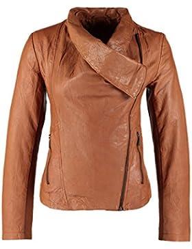DashX Ladies Leather Zipper Jacket Motocicleta Biker Short Coat Marr¢n