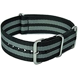 22 mm Nato Nylon Pull-through Watch Strap Black/Grey