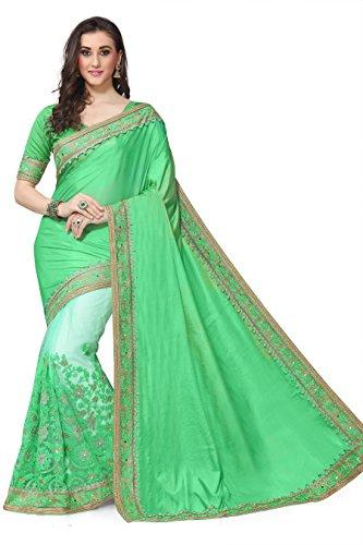 SareeShop Georgette Saree With Blouse Piece(Lakshmi-4004_Green Free Size)