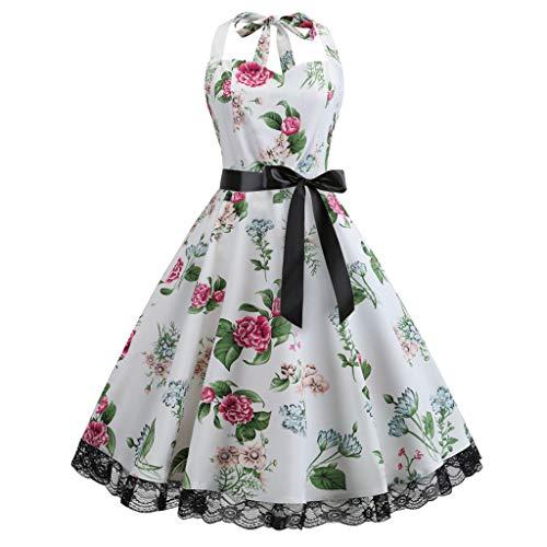 OverDose Damen Urlaub Karneval Schlank Stil Frauen Vintage Floral Bodycon Lässige Abendgesellschaft Prom Maskerade Tanz Unregelmäßigen Swing Dress Dirndl