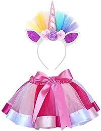 Vestito Unicorno Bambina BaZhaHei Costume da Ballo per Ragazza 2 Pezzi  Costume da Ballo Arcobaleno Vestito ab96c27a498