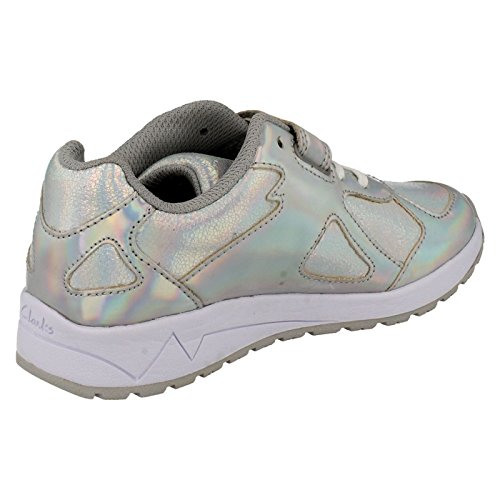 Clarks Adven labirinto Junior ragazze scarpe in argento metallizzato, rosa o blu marino Silver Metallic