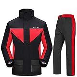 Motorrad Erwachsene Split Regenmantel Regenhose Outdoor Mode Männer Und Frauen Starke Verschleißfeste Atmungsaktive Regenjacke (Farbe : Black red, größe : L)