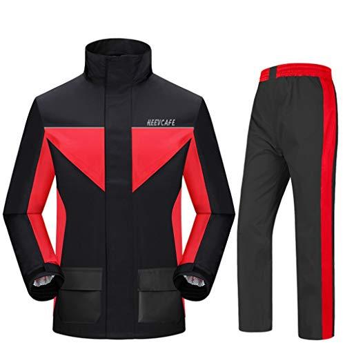Preisvergleich Produktbild Motorrad Erwachsene Split Regenmantel Regenhose Outdoor Mode Männer Und Frauen Starke Verschleißfeste Atmungsaktive Regenjacke (Farbe : Black red,  größe : L)