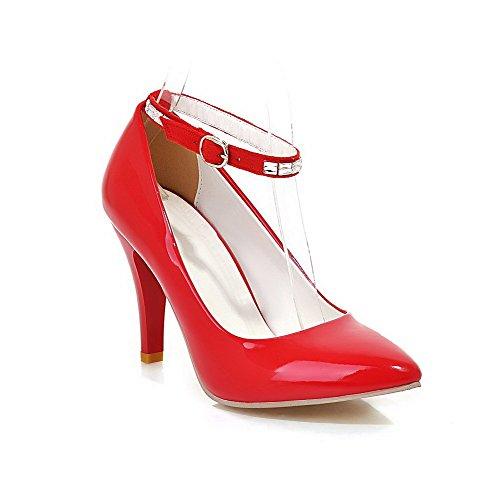Voguezone009 Femme Pure Shimmer Chaussures À Talons Hauts Bout Pointu Boucle Ballerines Rouges