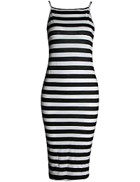 Fast Fashion - Strappy Imprimé Bodycon Longue Cami Robe Stretchy Midi - Femmes