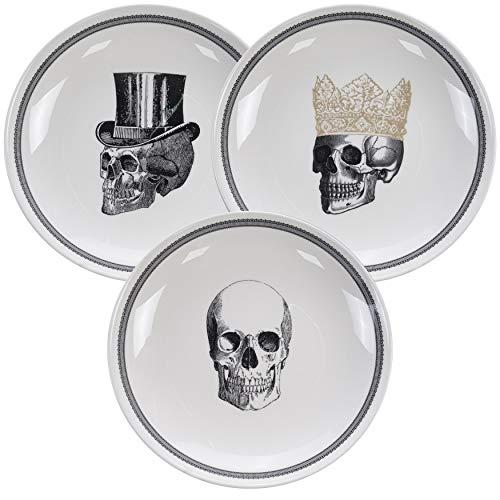 Homelab | Motiv Skull | 3 Teller Set Ø 24,5 cm mit Totenkopf | 3-tlg. mit 3 Totenschädel Designs | Pastateller aus Porzellan mit Skelett Kopf, handgemacht | Farben Weiß, Schwarz & Gold