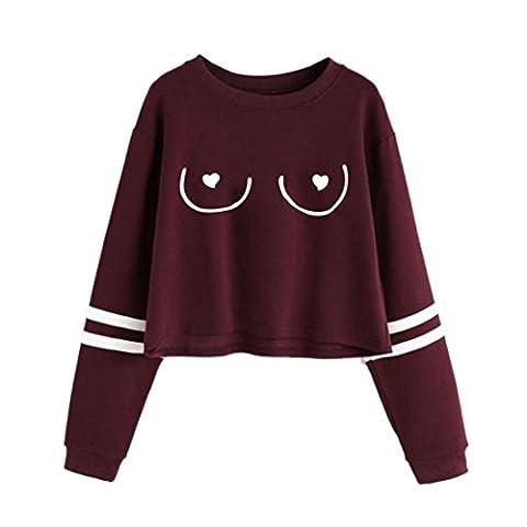 Bluestercool Pull à capuche Femmes Manches Longues Col rond Imprimé Décontractée Sweat-shirt (M, Rouge)