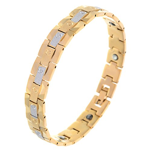 BeBold Bio Magnetic Gold Stainless Steel Shining Line Fashion Bracelet for Men Boys  available at amazon for Rs.469