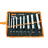 HRB Rohrsteckschlüsselsatz 9-tlg. Größen 6-22 mm, Schraubenschlüssel Satz in bequemer Tetron Rolltasche, ideales Langnuss Set für Arbeiten am Wasserhahn