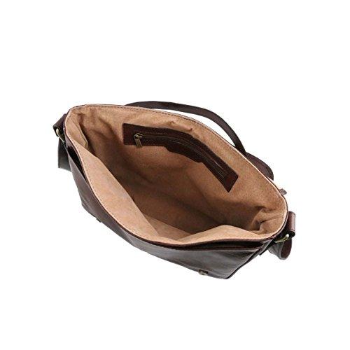 Tuscany Leather - TL Messenger - Sac bandoulière en cuir 1 compartiment - Grand modèle Marron - TL141253/1 Marron