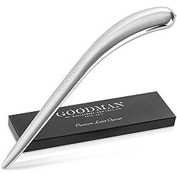 GOODMAN Wallstreet Ouvre-lettres en acier inoxydable argenté dans un design élégant | Couteau à lettres, ouvre-lettres et colis sans effort