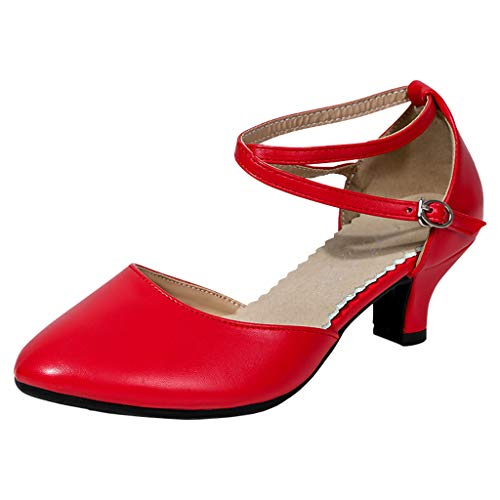 anzschuhe Damen Kristall Sandalen Glänzend Mode Elegant Pumps Sommer High Heel Stiletto Schuhe für Tanzen Rumba Waltz Prom Ballroom (Rot,35) ()